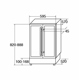 FWC623BL under counter wine cooler Fitting Diagram