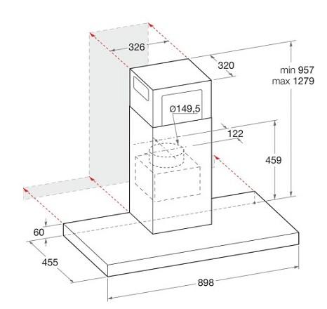 Hotpoint PHBS98CLTDK 90 cm T-box Hood