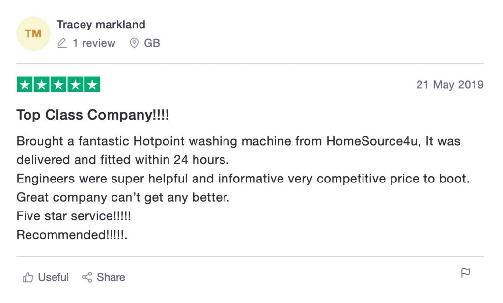 Bought a fantastic Hotpoint washing machine from HomeSource4u, It was delivered and fitted within 24 hours.     Engineers were super helpful and informative very competitive price to boot.     Great company can't get any better.     Five star service!!!!!     Recommended!!!!!.